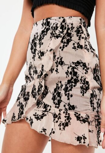 Missguided Nude Floral Wrap Frill Mini Skirt mgnn21