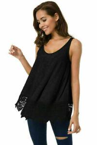 Women-Summer-Loose-Lace-Vest-Sleeveless-Blouse-Casual-Tank-Tops-T-Shirt-Black