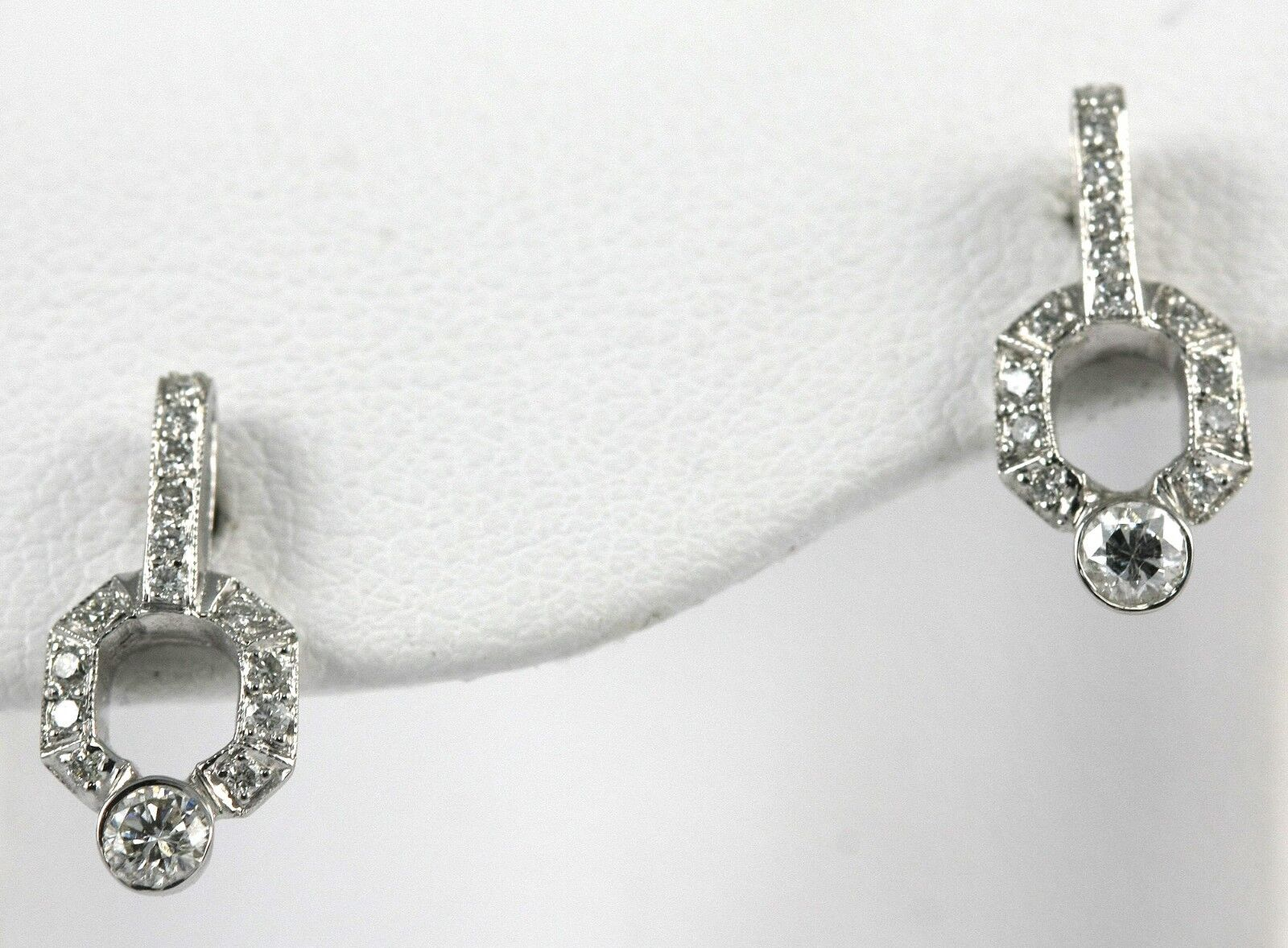 Diamond Drop Earrings Platinum with WG Post 0.50ct Diamonds