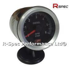 Black Face 52mm Rev Counter Tachometer Tacho RPM Gauge - Diesel Turbo TDI TD PD