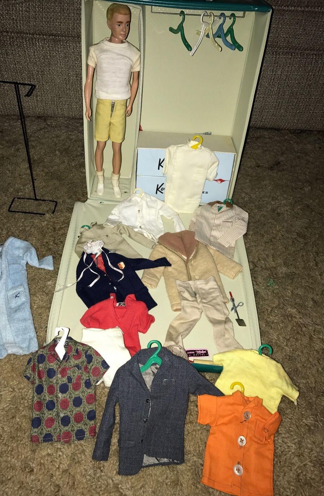 Década de 1960 Ken por Muñeca Barbie Lote De Colección-Soporte de alambre Trajes Originales Estuche de viaje