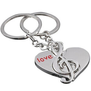 Romantic-Couple-Pendant-Jewelry-Music-Note-Keychain-Love-Heart-Key-Ring-GIft-D