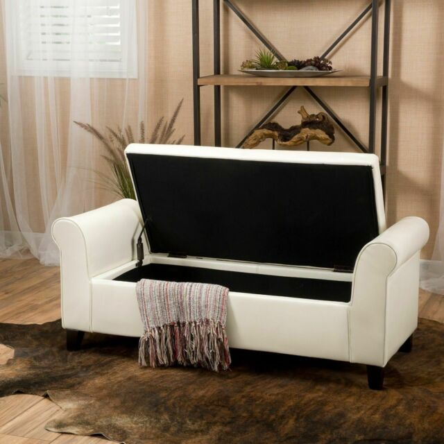 Outstanding Danbury Contemporary Off White Leather Armed Storage Ottoman Bench Onthecornerstone Fun Painted Chair Ideas Images Onthecornerstoneorg