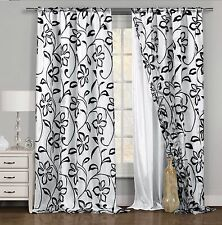 One (1) Black & White Window Curtain Panel: Floral Design, Double Layered, 54x84