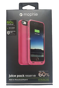 best service 27d97 38d15 Details about Mophie iPhone 6S / 6 Juice Pack Reserve Charging Case Cover -  Pink