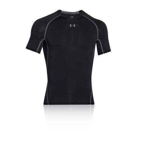 Under Armour Mens Black HeatGear Short Sleeve Gym Sports Compression T Shirt Tee