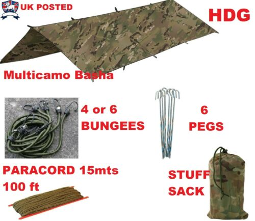 ARMY BASHA SET TENT SHELTER TARP BUSHCRAFT SURVIVAL CAMO//MTP//HMTC//MULTICAMO//OG