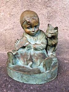 Bronze-Art-Deco-Enfant-et-chat