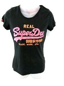 Haut-femme-SUPERDRY-T-Shirt-Top-S-S-gris-coton-amp-polyester