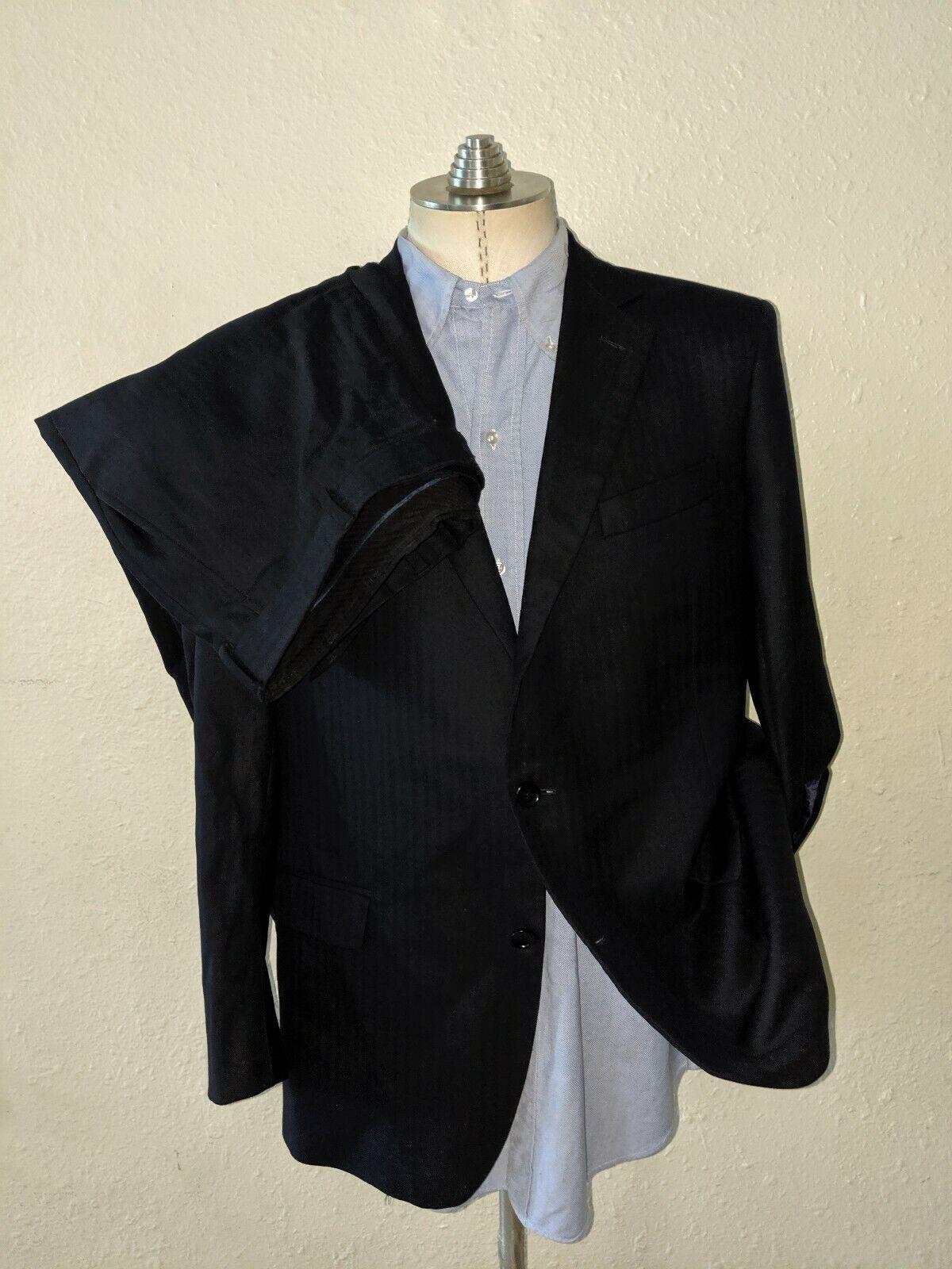Brooks Brothers Fitzgerald Tonal Marineblau 2pc Anzug 43R Jacke Flach Vorne Hose