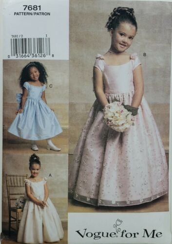 6-8 UNCUT Vogue 7681 Formal Evening Gowns w Petticoat /& Overlay Options Sz 2-5
