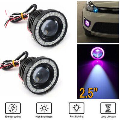 "2.5/""LED COB Projector Fog Lamp Halo Ring Angel Eye Daytime Running Light Blue"