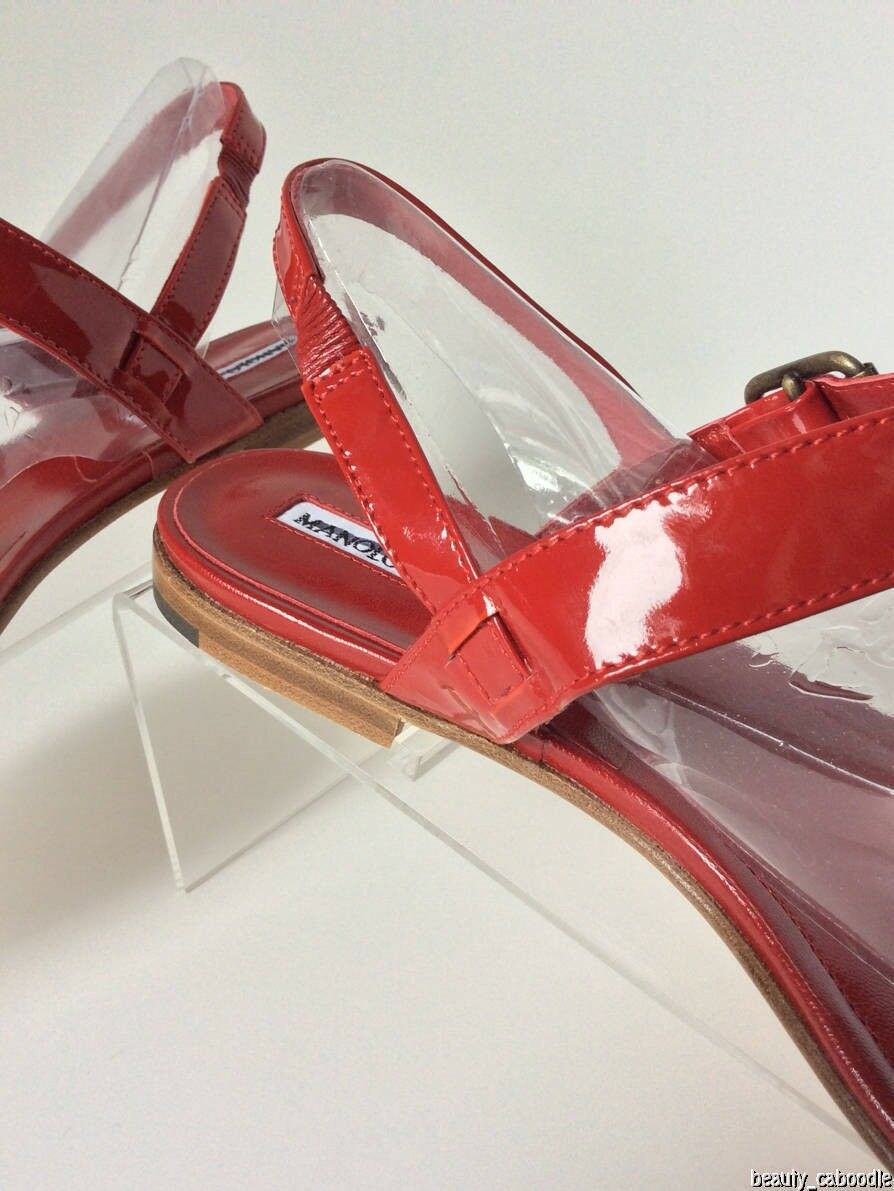 NEW MANOLO BLAHNIK 'Sista' Patent Patent Patent Leather Thong Sandals in rosso (Dimensione 38.5)- 595  e245e2
