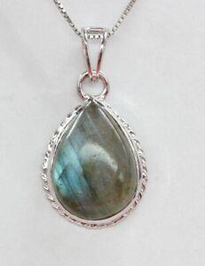 Edler-6-9-Carat-irrisierender-Labradorit-Anhaenger-925-Silber-Collier-Kette-Top-E
