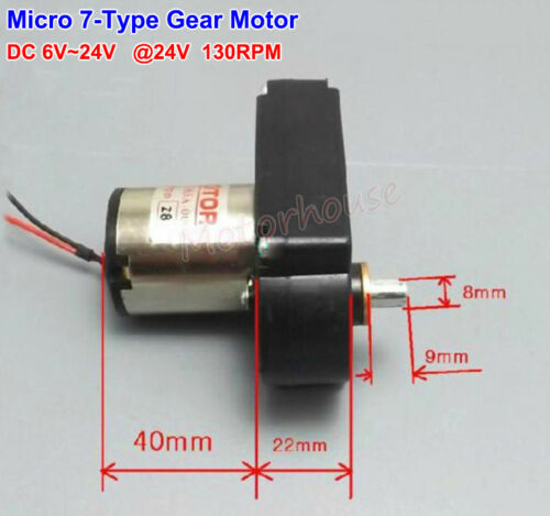 Small 7-Type Gear Motor DC 12V 24V 130RPM Slow Speed Large Torque DIY Generater