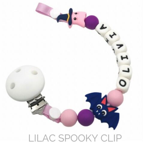Dummy Clip Personalized Silicone Bead Pacifier Holder Strip ~ Baby HALLOWEEN