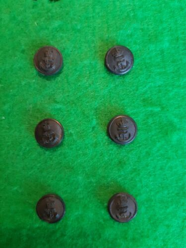 6 x Royal Navy Black Plastic 16mm Uniform Buttons