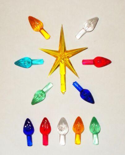 144 LARGE TWIST BULBS GOLD STAR Ceramic Christmas Tree Lights Bulbs