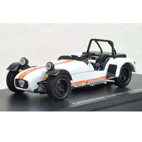 Kyosho 1/43 K03156W 1/43 CATERHAM SUPER 7 CYCLE-FENDER bianca/arancia Stripes