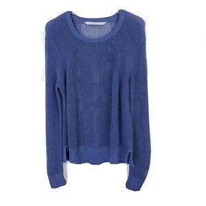 Athleta-Women-039-s-Mesh-Pullover-Open-Knit-Sweater-Crew-Neck-Blue-Size-XL