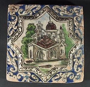 Antik-islamische-Qajar-Sternformige-Relief-Keramik-Fliese-Kachel-islamic-Tile-M
