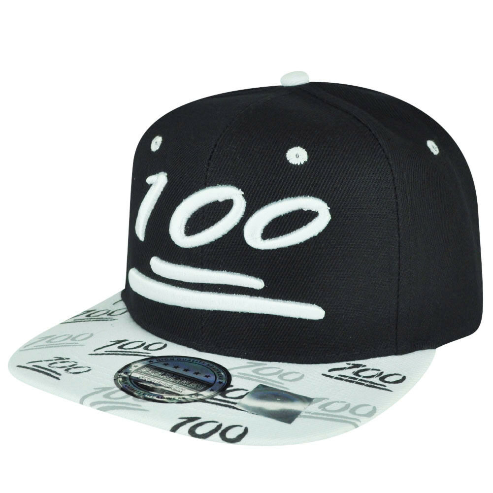 100 One Hundred Snapback Hat Cap Emoji Text Symbol Emoticons Black
