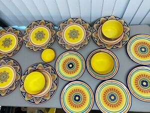 PIER-1-Mexicali-Dining-Set-Dinner-amp-Salad-Plates-Bowls-Ironstone-Design