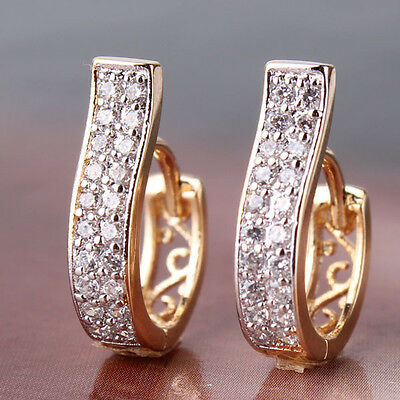 Vogue 18K gold Platinum filled white Sapphire Crystal CHIC hoop earring