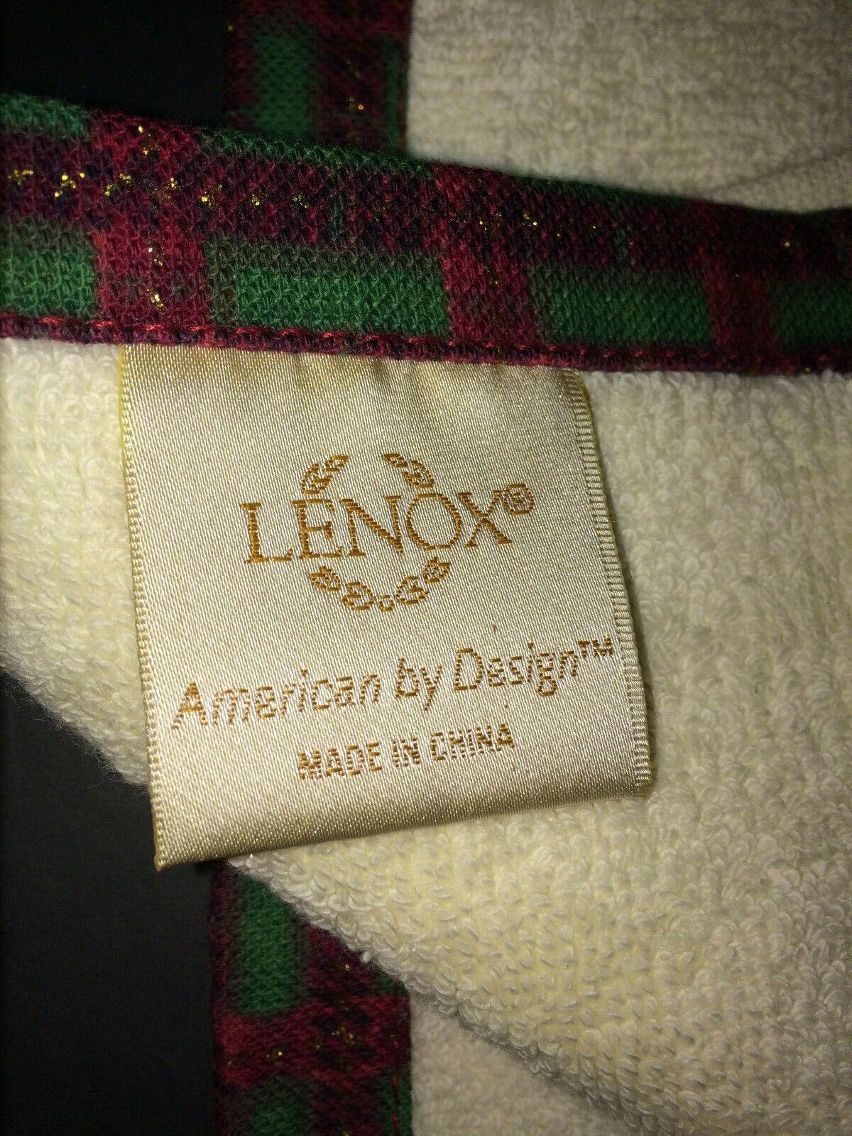 2pk Lenox Holly Bath Fingertip Towel Red Trim Cotton 11x18 in Gift Box NIB $30