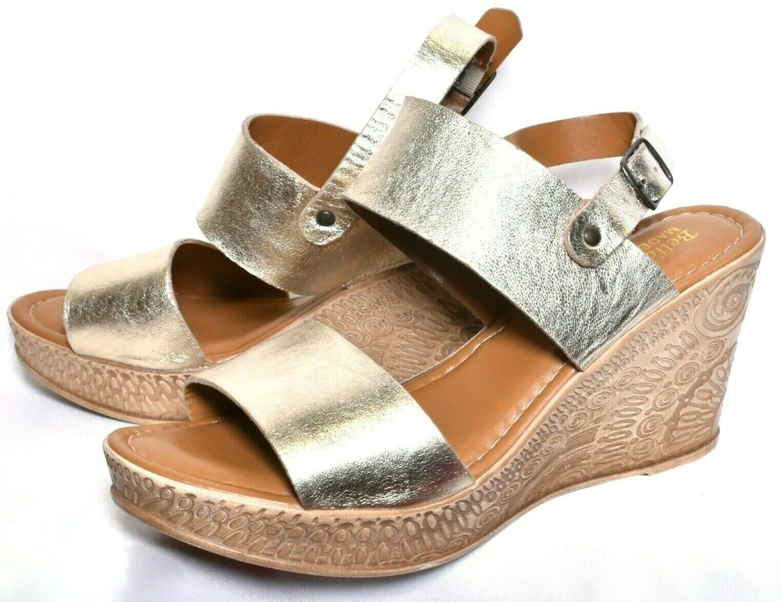 BELLA VITA Cor- Engraved Wedge Sandal Heels (Size 11WW) gold Leather  NEW