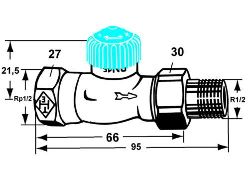 "Heimeier Heizkörper Thermostatventil 1//2/"" Durchgang Heizkörperventil Schwerkraft"