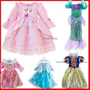 Image is loading Princess-Elsa-Anna-Dresses-Kids-Costume-Girls-Party-  sc 1 st  eBay & Princess Elsa Anna Dresses Kids Costume Girls Party Cloth Dress ...