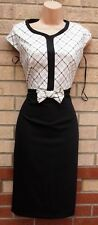 COLLECTION BLACK WHITE CHECK TARTAN BOW FRONT WAIST PENCIL FORMAL TUBE DRESS 12