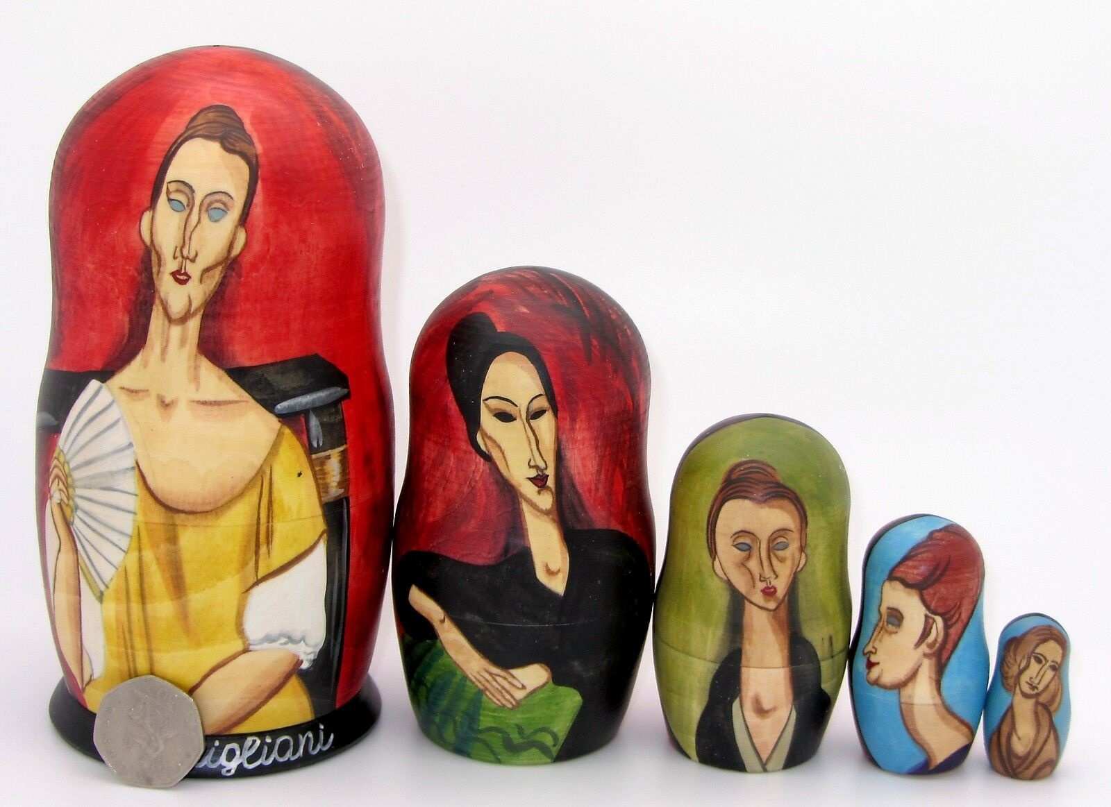 Rusas Matrioska Muñecas-caja Modigliani damenes con Fan Lunia Czechowska 5PC