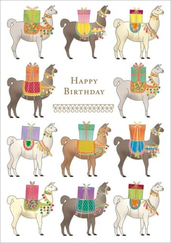 Notes /& Queries Elpacas Carrying Gifts Birthday Card