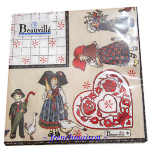 BEAUVILLE-PAPER-NAPKINS-French-3-Ply-Lunch-Picnic-Party-ALSAC-Mon-Village-New