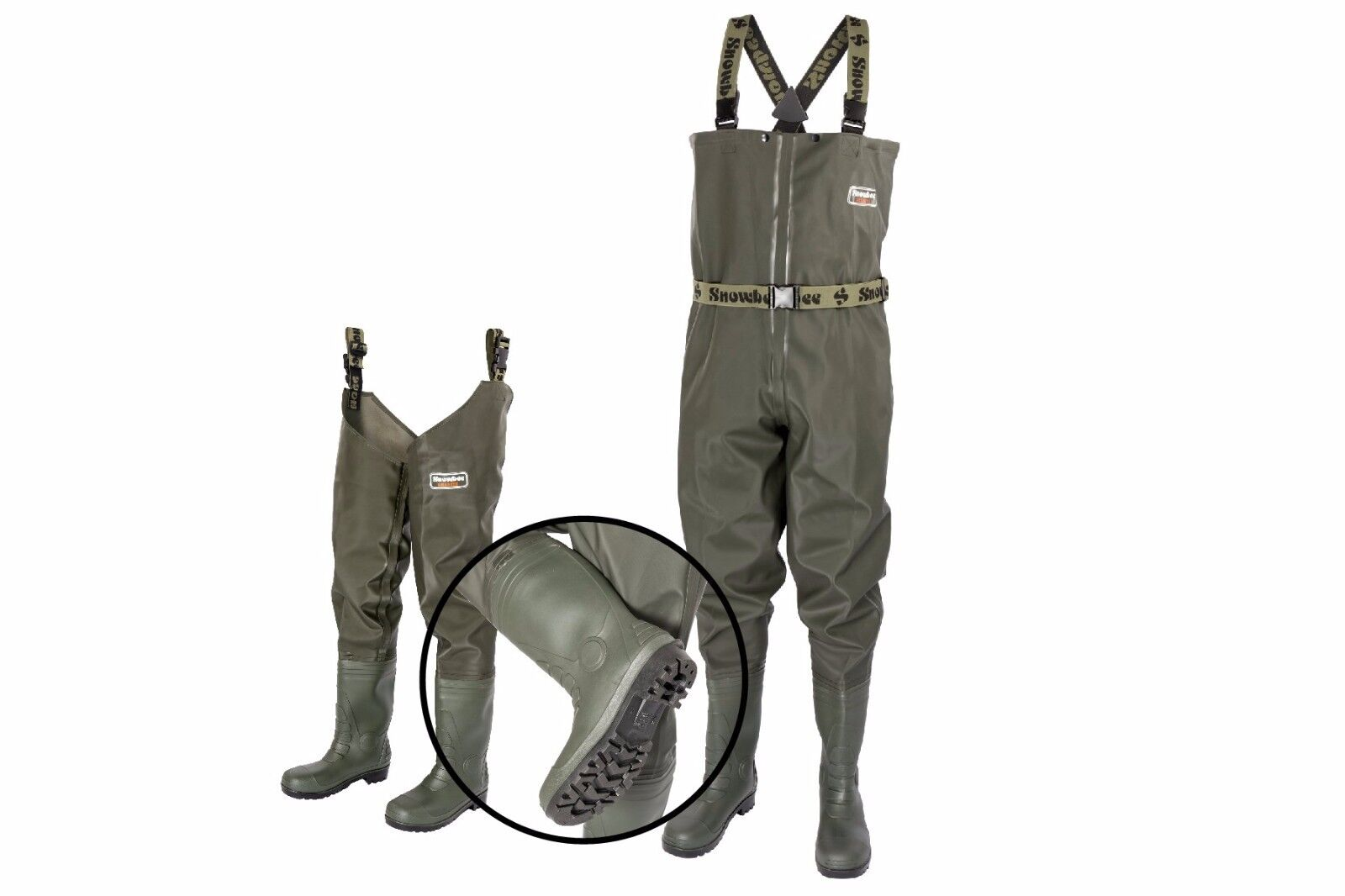 Snowbee Heavy Duty GRANITE PVC Chest Waders & Thigh Waders with cleated sole