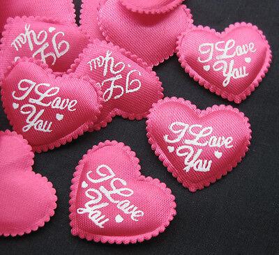 50pcs Padded Fushia Sweet Heart Appliques  Wedding Decoration Craft DIY AP047FUS