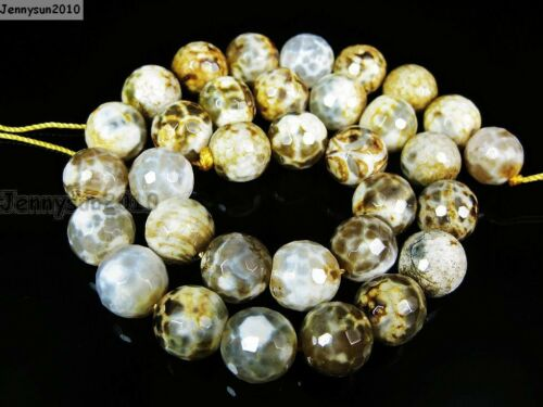 Yellow Fire Crackle Agate Gemstone Faceted Round Beads 15/'/' 6mm 8mm 10mm 12mm