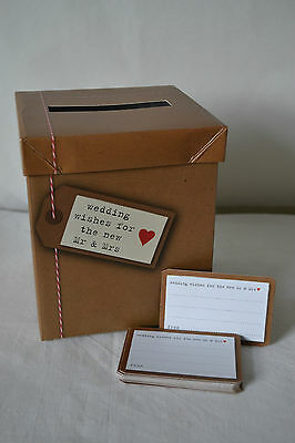 WEDDING WISHES POST BOX & 50 CARDS - JUST MY TYPE VINTAGE RETRO - GUEST BOOK