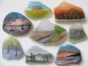 Little-landscapes-original-miniature-art-on-sea-glass-amp-beach-pottery-rock-art