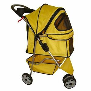 New-BestPet-Classic-Fashion-Yellow-3-Wheels-Pet-Dog-Cat-Stroller-w-RainCover