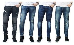 cb2c476326f98 Mens Skinny Jeans Ripped Slim fit Stretch Denim Distress Frayed ...