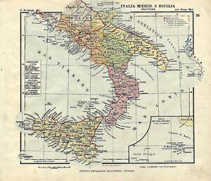 Cartina Geografica Europa Meridionale.Carta Geografica Antica Italia Meridionale Sicilia Malta 1914 Old Antique Map Ebay