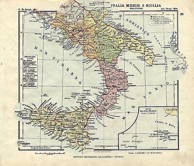 Cartina Politica Italia Alta Definizione.Carta Geografica Antica Italia Meridionale Sicilia Malta 1914 Old Antique Map Ebay