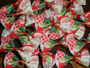Pack-Of-24-XL-Christmas-Dog-Grooming-Bows-RED-GREEN-SANTA-PATTERN