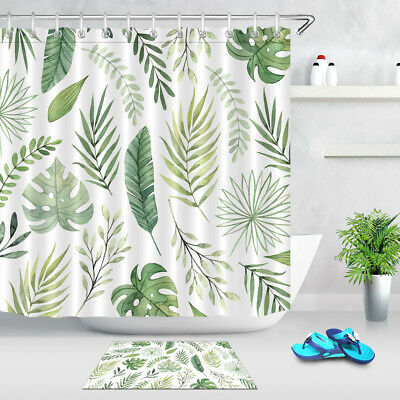 Watercolor Tropical Plants Leaves Pattern Shower Curtain Set Waterproof Fabric