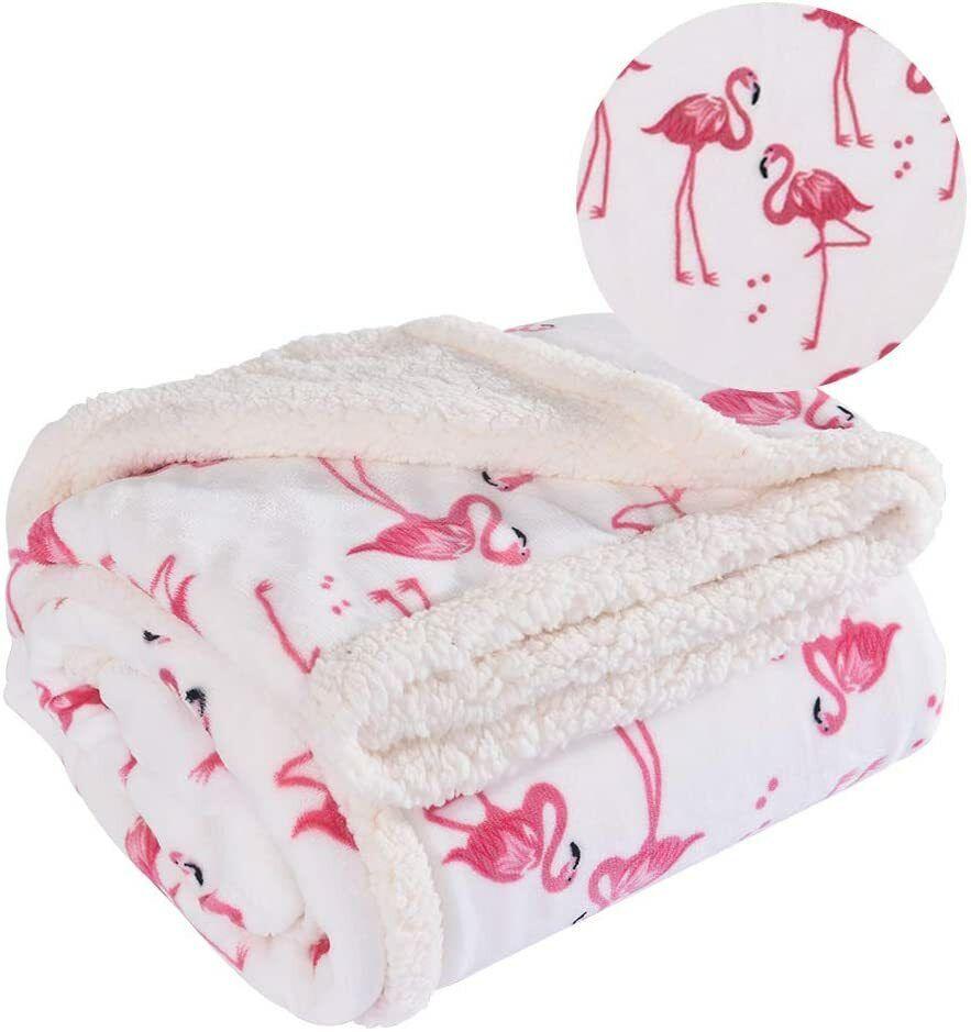 White Twin RHF Flamingo Fuzzy Blanket,Plush Blanket,Fluffy Blanket,Bed Throw Blanket,Velvet Blanket,Thick Fleece,Cozy Blankets For Kids,Kids Blanket,Couch Blanket,Thick Fleece,Flamingo Gifts