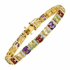 7-3-4-ct-Multi-Gem-amp-Diamond-Bracelet-Sterling-Silver-Plated-Brass-amp-Gold-Flash