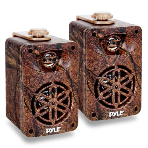 "4x Pyle Marine 3.5"" Wall Mount Compact Camo Speakers 16-G 50 Foot Tinned Wire"